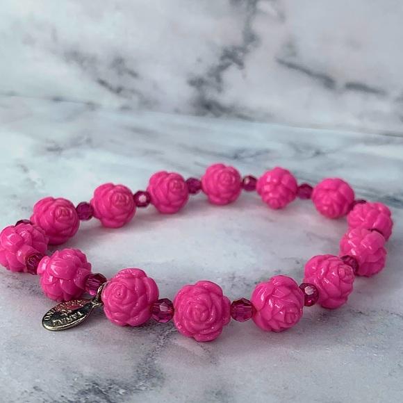 Tarina Tarantino Small Pink Rose Beaded Bracelet